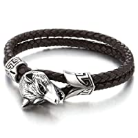 Stainless Steel Mens Wolf Head Bracelet with Black Genuine Braided Leather
