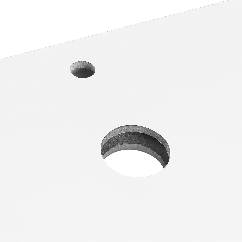 Mensola lavabo console lavabo per in ceramica per appoggio e vasca di lavaggio 100x45cm acciaio inossidabile bianco lucido di MDF neu.haus