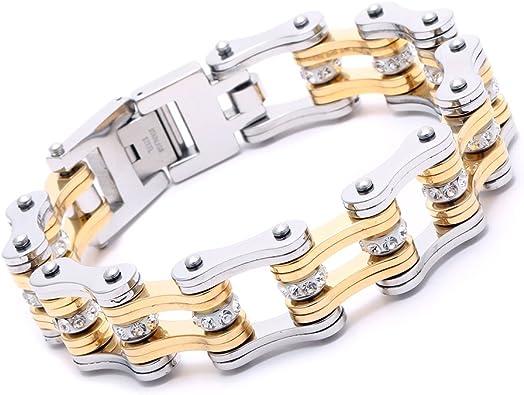 Heavy Polish Motorcycle Bike Chain Stainless Steel Bracelet Link Mens AK