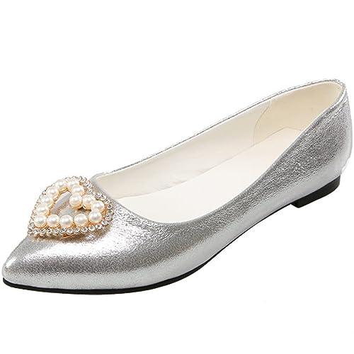Aiyoumei Damen Flache Pumps Spitz Ballerinas Mit Perlen Und Strass