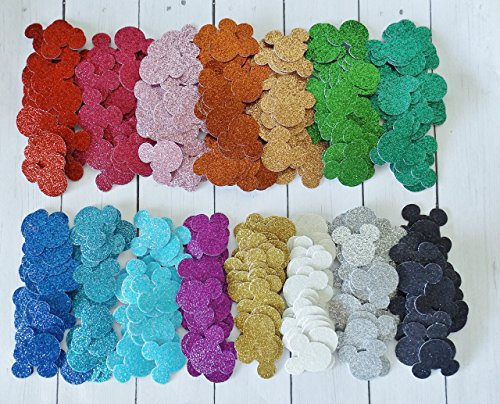 Mickey Mouse Glitter Paper Confetti - Minnie Mouse Decor - Glitter Party Decoration - 1 inch - 300 Pieces - Your Choice of Colors