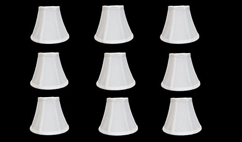 Urbanest Chandelier Lamp Shades 6-inch, Bell, Clip On, White Set of 9