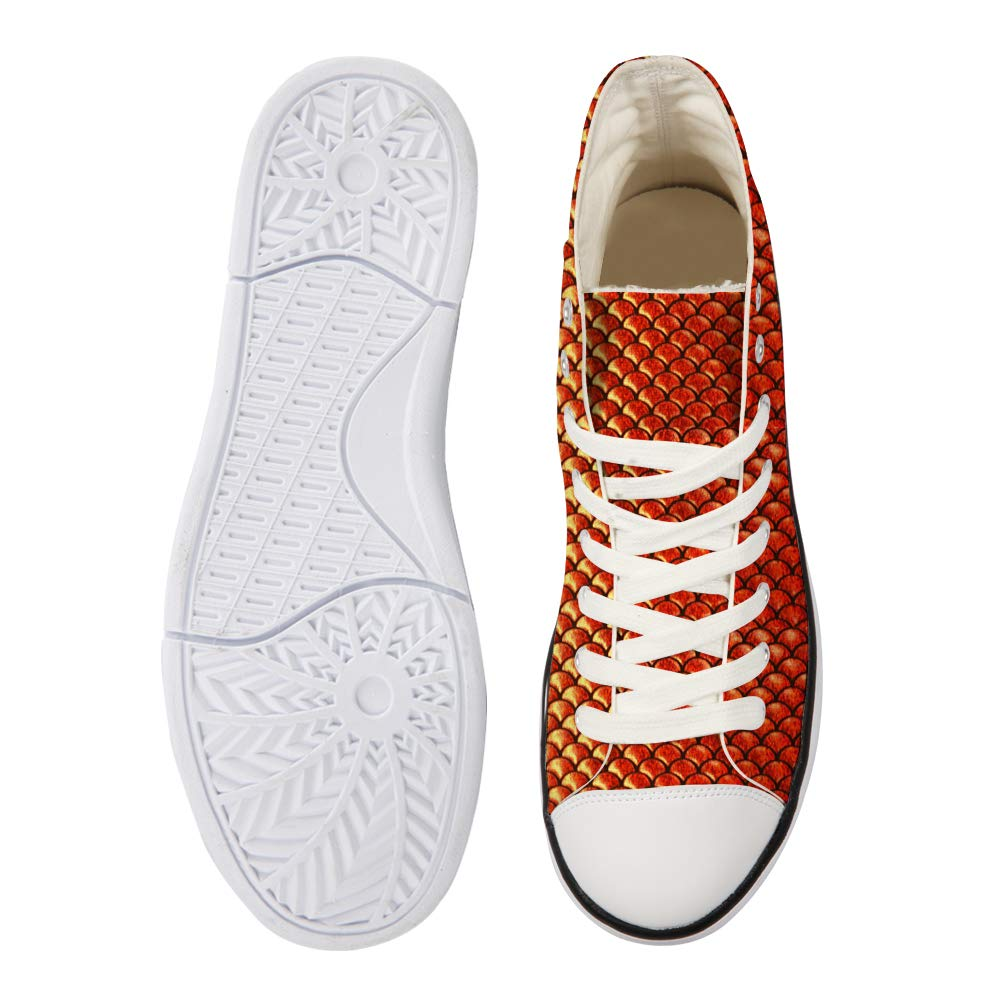 Canvas High Top Sneaker Casual Skate Shoe Mens Womens Python Flame Gold Scales