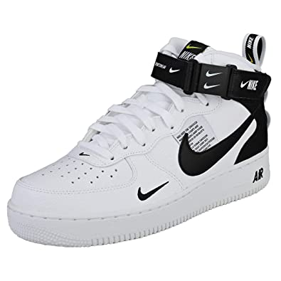 a17fdb2915d NIKE Air Force 1 Mid 07 Lv8 Mens Trainers White Black - 10 UK   Amazon.co.uk  Shoes   Bags