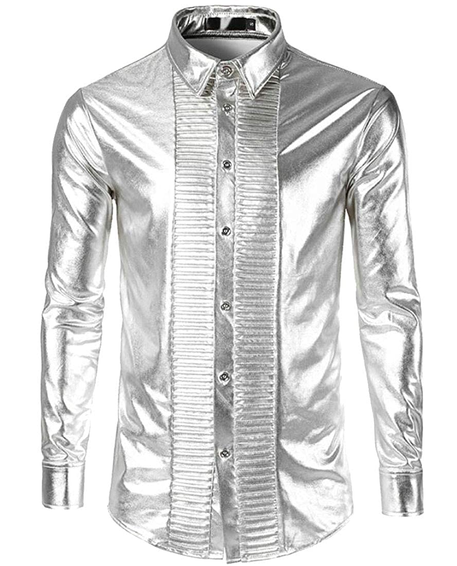 YYear Men Lapel Metallic Pleated Loose Evening Button Down Dress Shirts