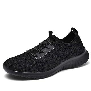 TIOSEBON Women's Ultralight Casual Fashion Walking Shoes Breathable Slip-On Sneakers 5 US All Black