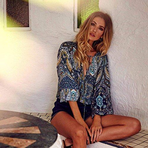 Ethnique Vintage breal 3 Large Femme Manches Beach Chemise Haut Cou Boho Chemisier Mode Modle Imprimer Tops V Et Style Blau Elgante Blouse White 4 Bandage qz6PYpx