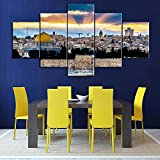 Islamic Wall Art 5 Panel Large Jerusalem Pictures Home Decor Canvas Printed on Canavs Painting,Wooden Posters and Prints Artwork for Living Room-Framed Gallery-Wrapped Ready to Hang(60''Wx32''H)