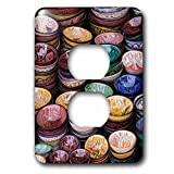 3dRose Danita Delimont - Markets - Morocco, Marrakech. Colorfully painted ceramic bowls for sale. - Light Switch Covers - 2 plug outlet cover (lsp_276493_6)