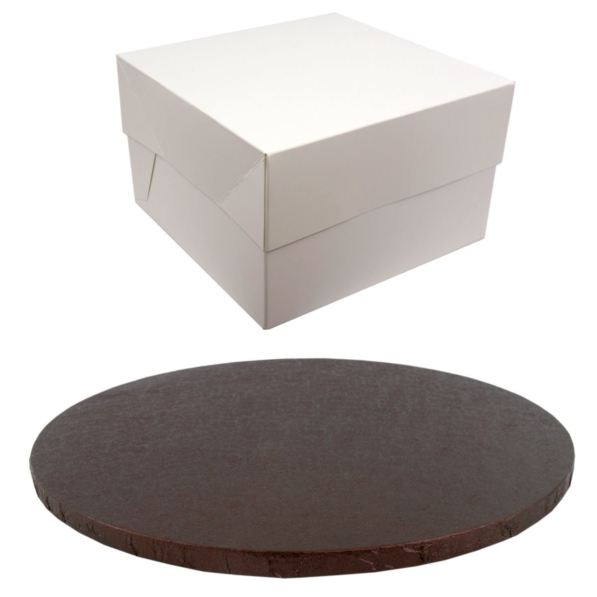 12 Inch Round Coloured Drum cake Board and white transporting Box Sets (Brown) Doric