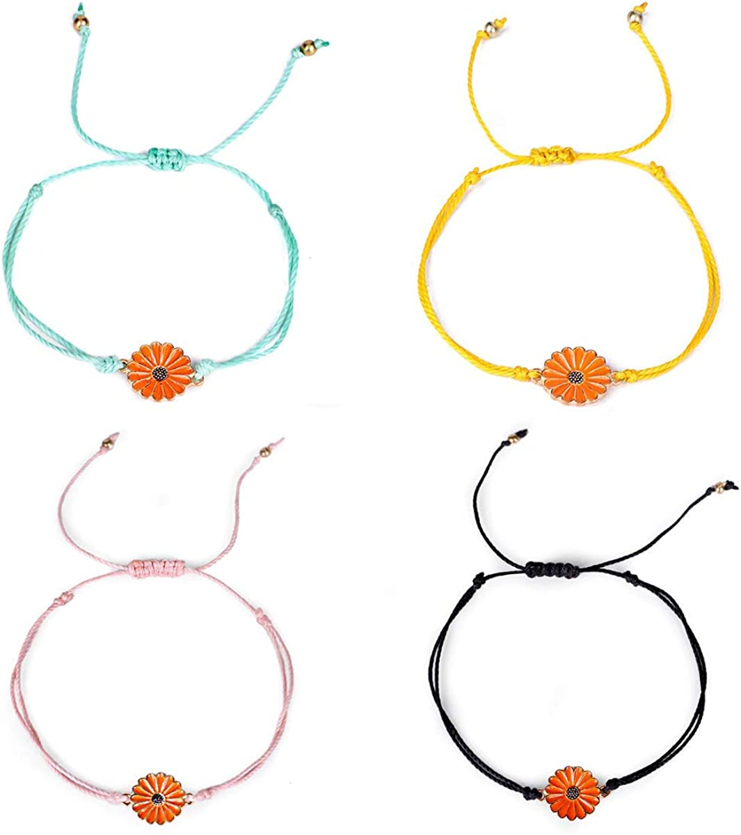 YELUWA Handmade Friendship Boho Sunflower Anklets//Bracelets for Women Teen Girls Daughter Sister Mom Gifts Waterproof Adjustable Rope Bracelet Set of 3