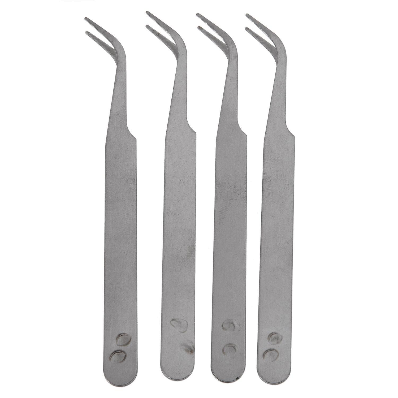 SODIAL(R) Silver Tone 5 Inch Length Metal Bent Tip Tweezers 4 Pcs