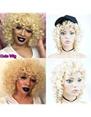 613 Blonde Short Curly Synthetic Hair Wigs for Women Andromeda Womens Soft Fluffy Big Curls Hair Wigs Loose Curly Costume Cosplay Cheap Half Wigs With 1 Free Wig Cap