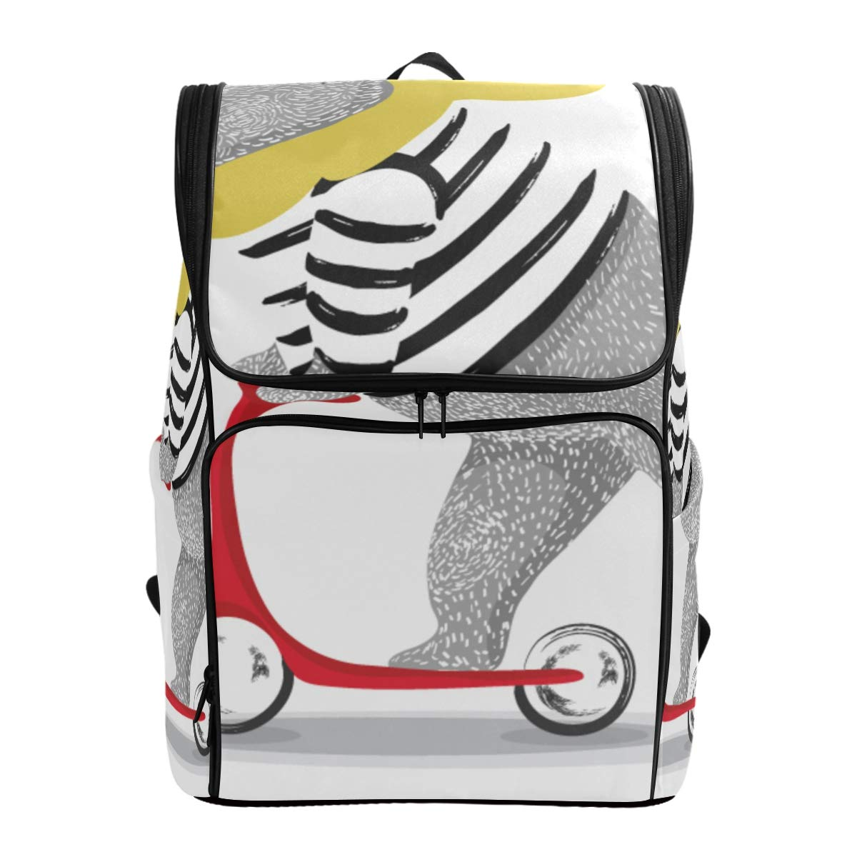 YCHY Backpack Cute Bear Scooter Vector Designanimal Illustrationt bag by YCHY