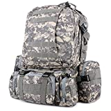 UGE 55L 3P Comfortable Waterproof Assault Pack Tactical Backpack 600D Nylon Wide Shoulder Straps Unisex Rucksack Military Pack Outdoor Hiking Trekking Tactical Camping Camouflage Backpack Bag (ACU Camouflage) For Sale