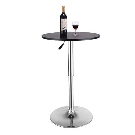 Magshion 23.6 Round Adjustable Height Wood Bar Pub Table Adjustable Range 27.5 , 35.7 Black