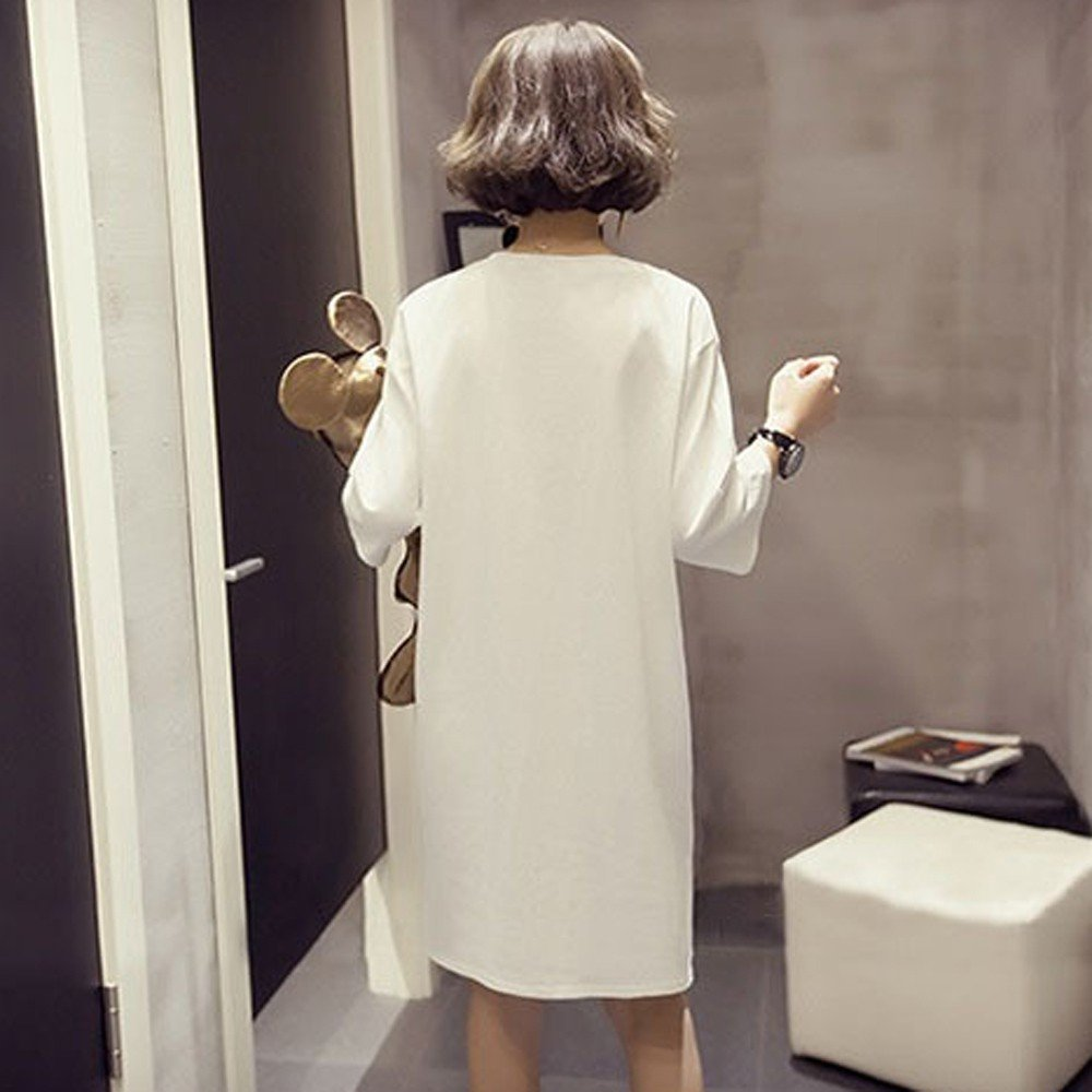 iYYVV Fashion Womens Short Sleeve Letter Print Long Loose Tops Blouse Dress Shirt