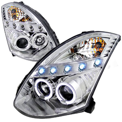 (For Infiniti G35 Dual Halo Led 2Dr Coupe Chrome Projector Headlights)