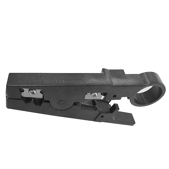 Maletín con crimpadora, para RJ11 y RJ45, pelador, tester, herramienta de inserción, destornilladores y conectores negro negro RJ1KIT: Amazon.es: ...