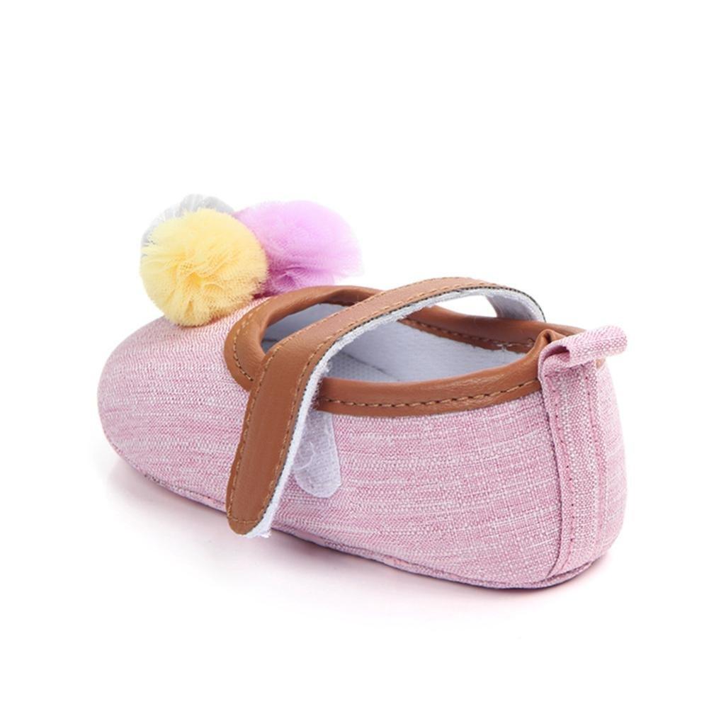 Morrivoe Baby Girl Boy Shoe Solid Anti-Slip 3 Colorful Ball Soft Sole Toddler Crib Shoe Prewalkers Shoes