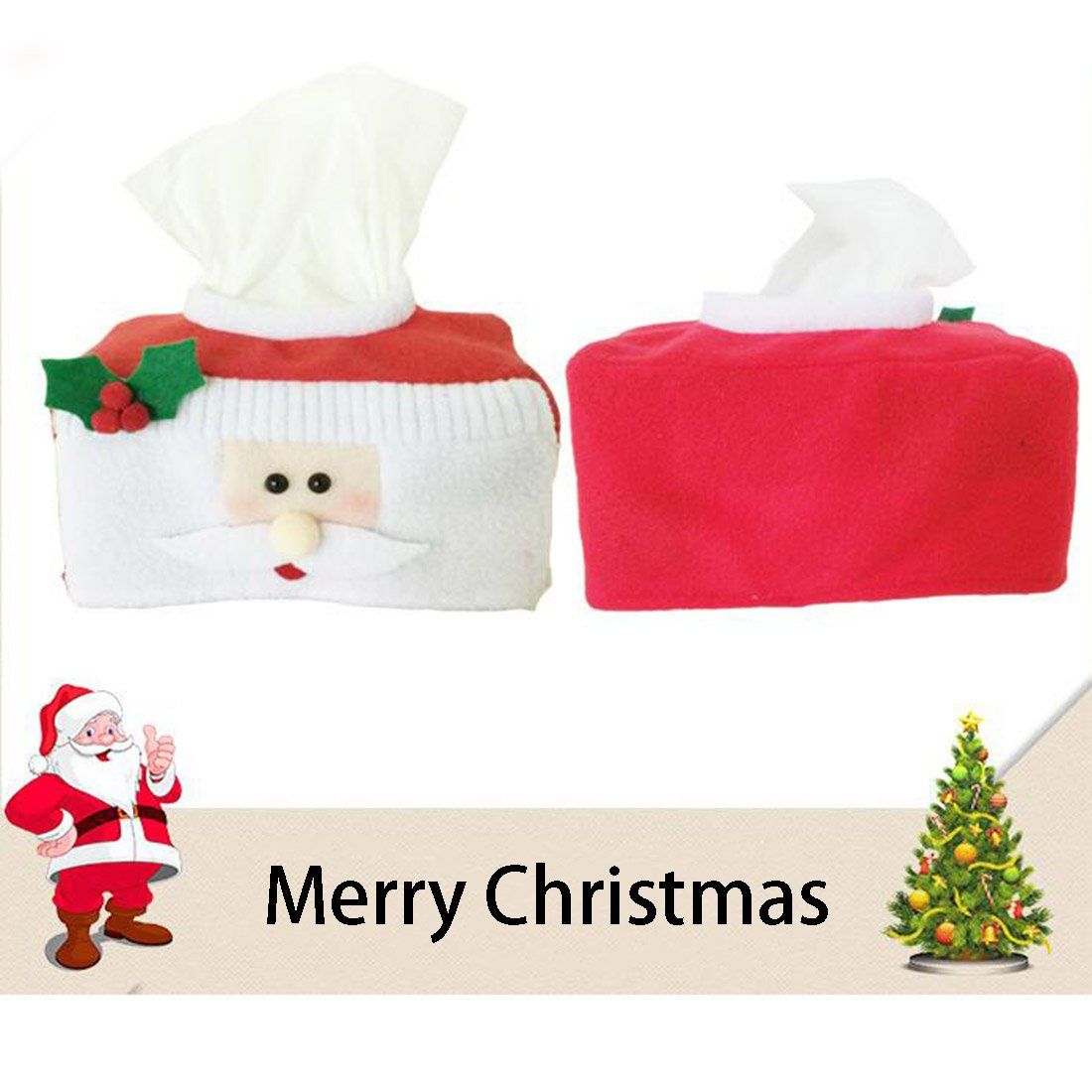 Fashion?Life Christmas Style Santa Claus Belt Felt Tissue Box Case Holder for Home Decorations