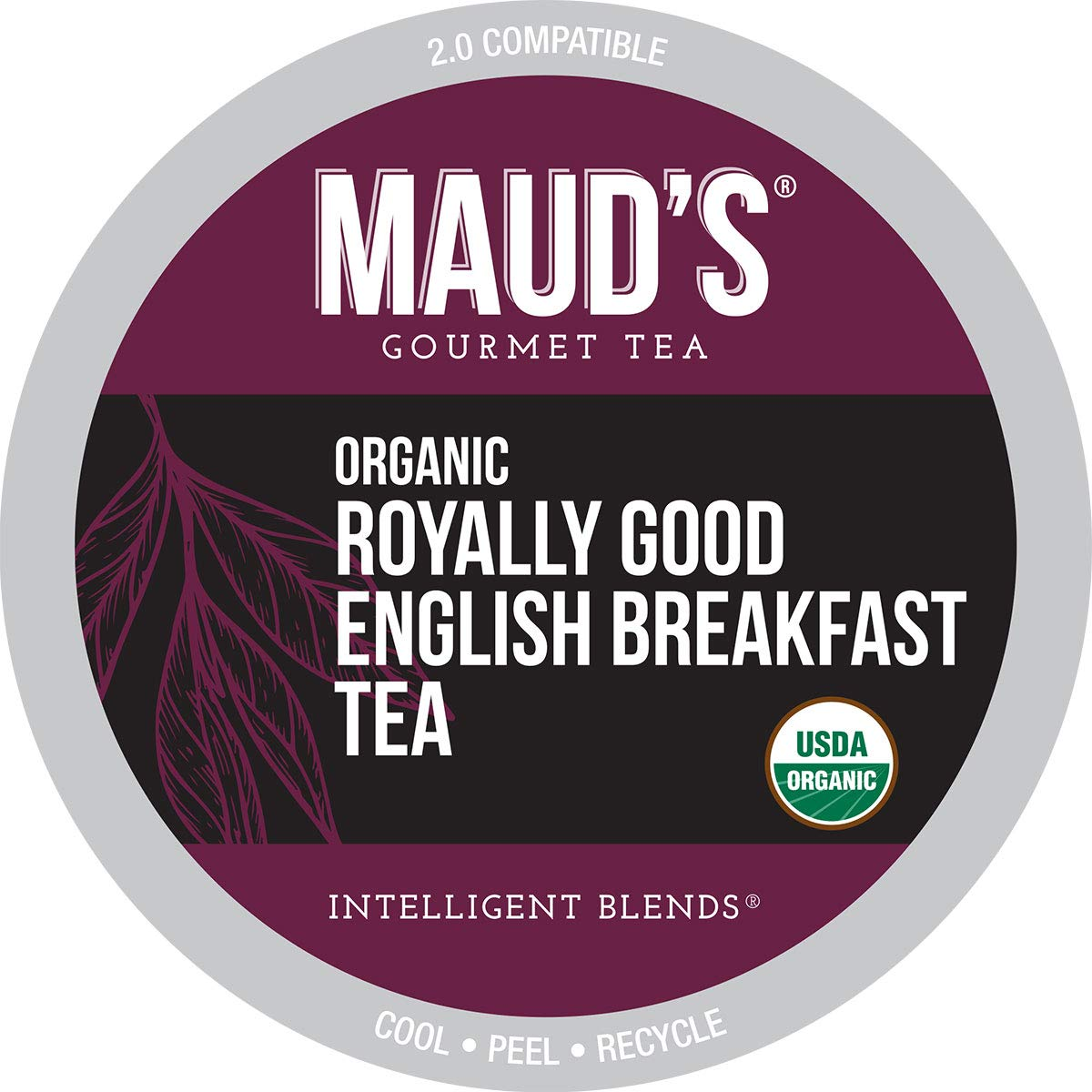 Maud's Organic English Breakfast Tea (Royally Good English Breakfast), 24ct. Recyclable Single Serve Organic Black Tea Pods – 100% Organic Tea California Blend, Keurig Black Tea K Cups Compatible
