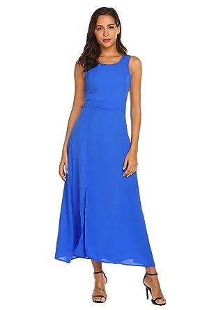 f1626ce2d00 ACEVOG Women Sleeveless Cocktail Dress Split Solid Elegant Evening Party  Maxi Dress
