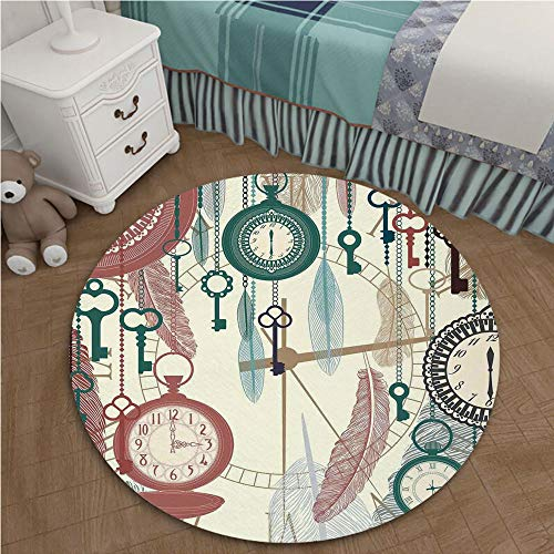 - Polyester Area Rug Mat for Living Dining Dorm Room Bedroom Home Decorative 3.28 Ft Diameter Antique Decor,Traditional Pocket Watches with Feather and Old Key Portable Time Flies Hour Hand Artsy Theme,
