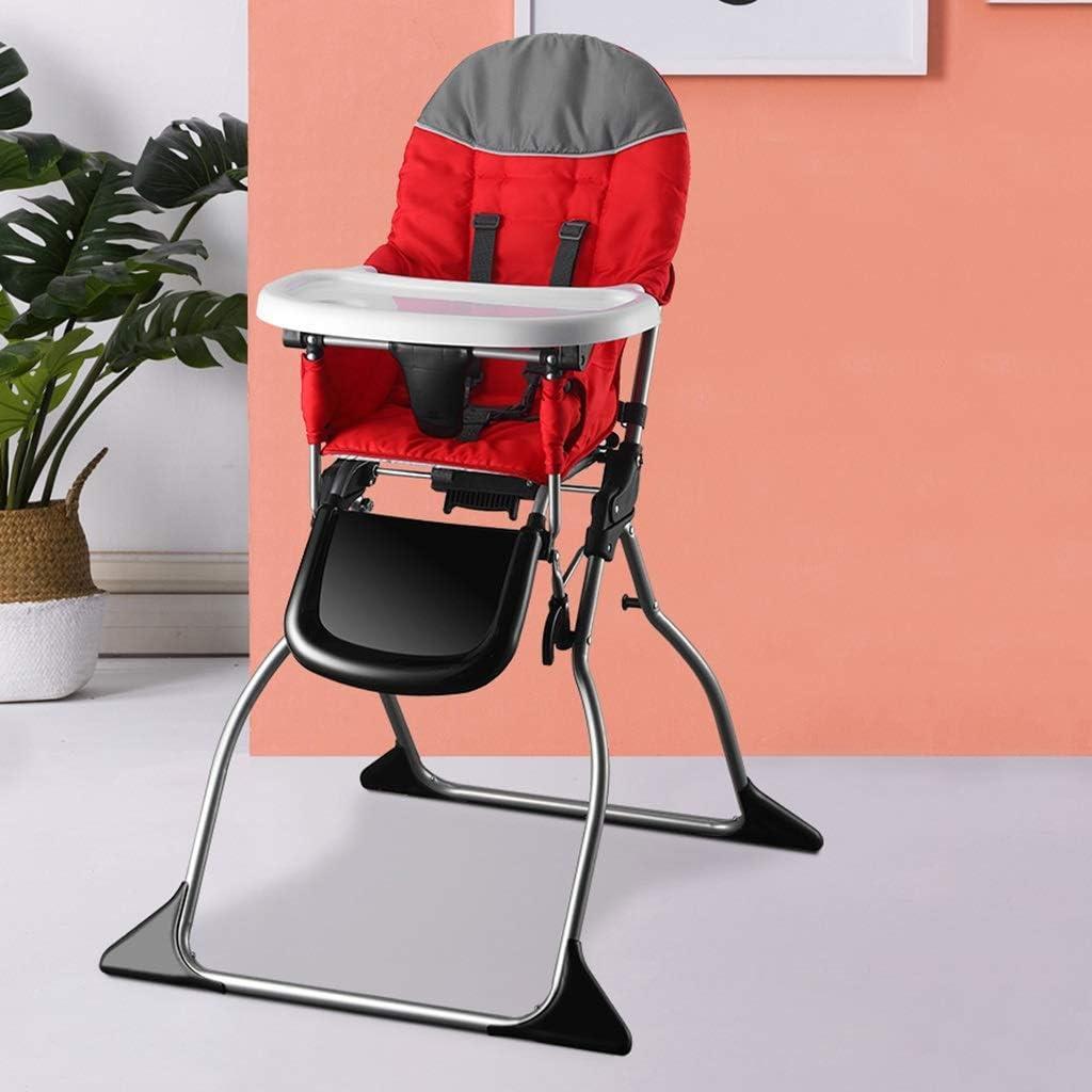 Lu- Silla de Comedor for niños, Asiento de Comedor Plegable portátil Multiusos, Mesa de Comedor y Silla de Altura Ajustable, Adecuado for 0-4 años (Color : Rojo) Rojo 45bIGG