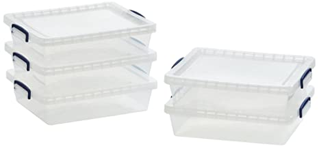 AmazonBasics - Cajas de almacenamiento de plástico con tapas (transparente, 10,5 litros