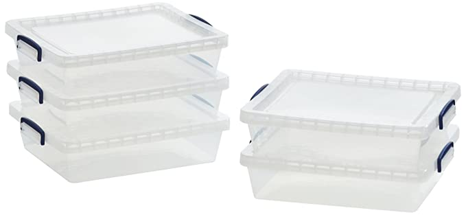 AmazonBasics - Cajas de almacenamiento de plástico con tapas (transparente, 10,5 litros, 5 unidades): Amazon.es: Oficina y papelería