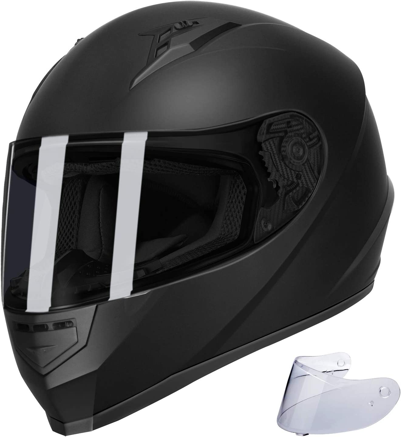 Amazon.com: GLX Unisex-Adult GX11 Compact Lightweight Full Face Motorcycle Street Bike Helmet with Extra Tinted Visor DOT Approved (Matte Black, Large): Automotive