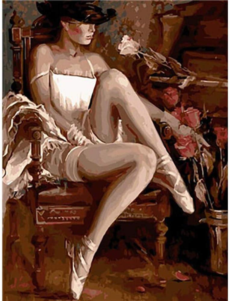 ONEZERT Pintura por números Pintura Bailarina de Ballet DIY Cuadro en Lienzo Pintado a Mano Pintura al óleo Música Chica Decoración del hogar 40x50cmx1 sin Marco