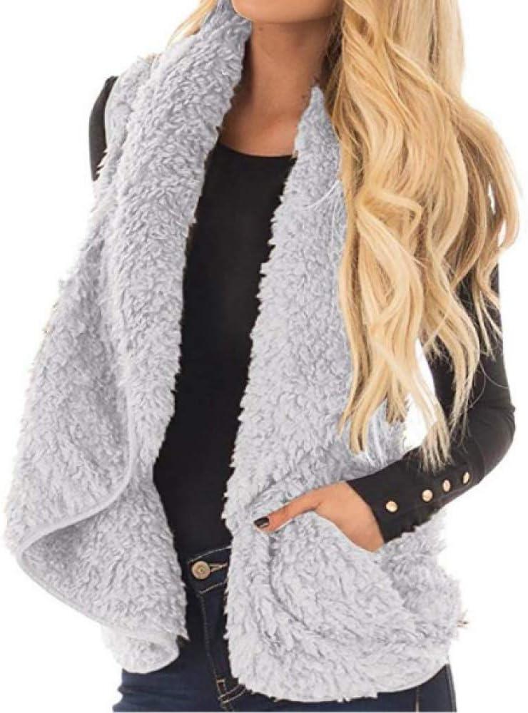 Women Velvet Polyester Vest Coat,Sleeveless Jacket Winter Body Warm Gilets Ladies Shrug Waistcoat Fluffy Lapel Cardigan Outwear,Brown-S