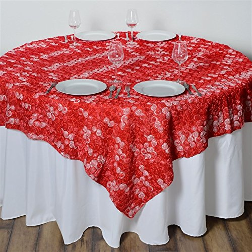 - 72 Inch X 72 Inch Triple-Tone Mini-Rosettes Table Overlays - Red Umbre
