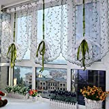 HAOLY Semi-Blackout Curtains,Wear Poles Embroidery Window Screens,Roman Blinds Pull-up Curtains Lift Curtains for Balcony Bedroom 1pcs-A 80x100cm(31x39inch)