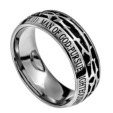 Amazon.com: Anillo de acero inoxidable con diseño de corona ...