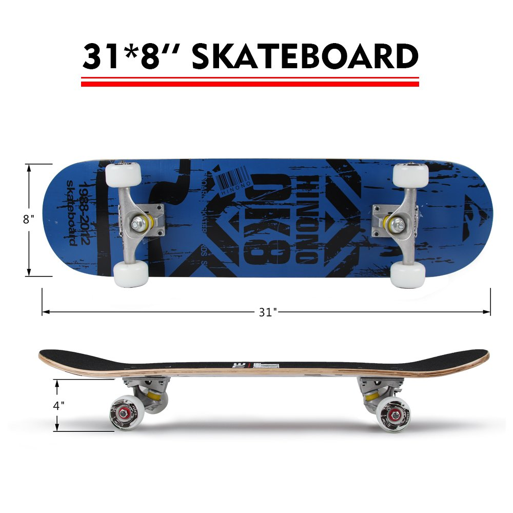 PUENTE 31 inch Complete Skateboards, Skateboard for Kids Boys Girls Youth Adults, Tricks Skate Board for Beginners Pro, Double Kick 7 Layer Canadian Maple Wood Concave Skateboard