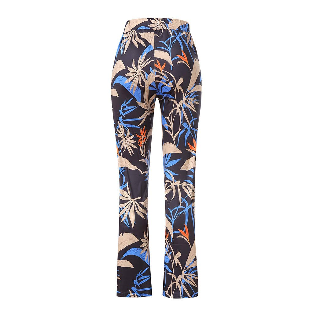 Pervobs Women Summer Floral Printing Loose Comfort High Waist Wide Leg Pants Leggings Trouser(S, Black) by Pervobs Women Pants (Image #7)