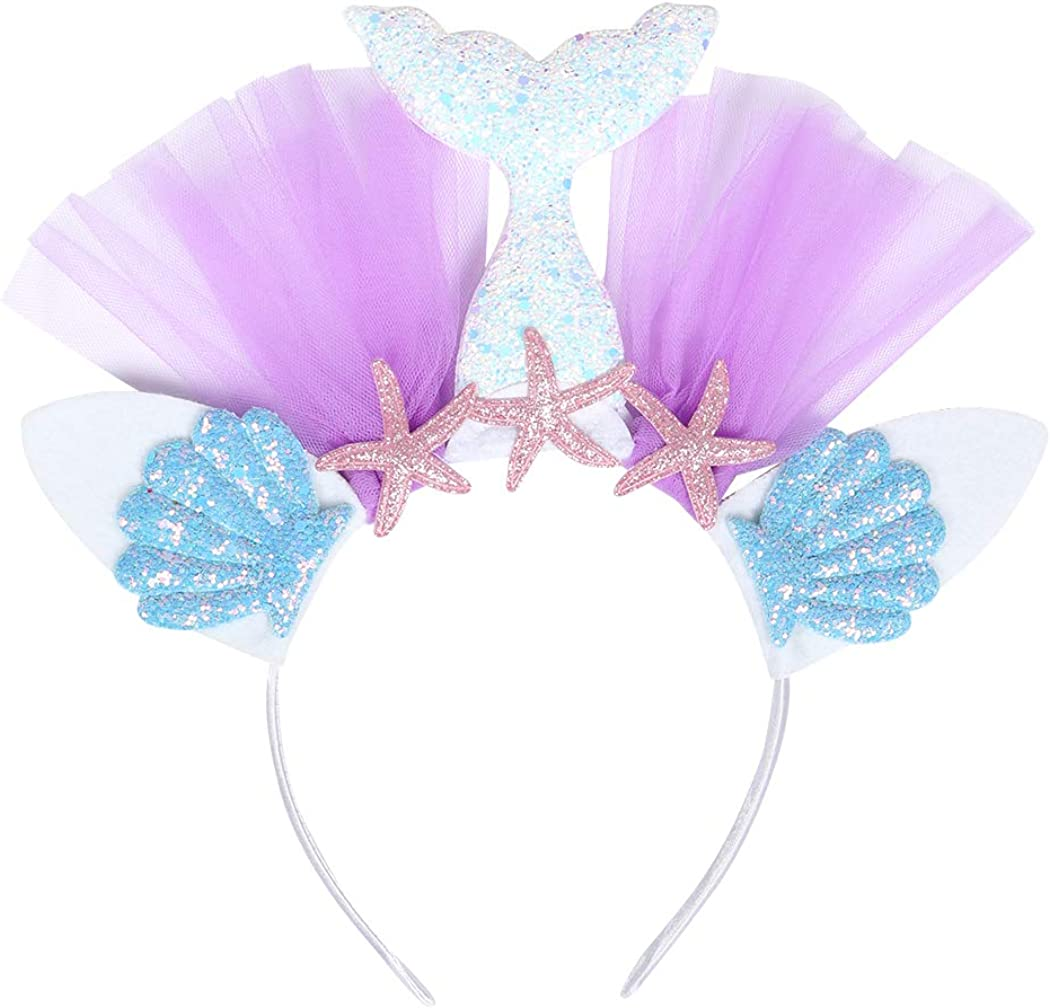 HenzWorld Little Girls Dresses Outfits Mermaid Costume Tutu Princess Birthday Party Halloween Cosplay Headband