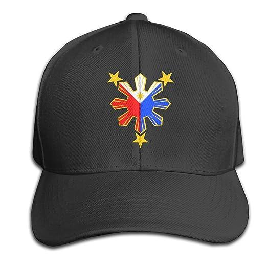 590a23767ed Amazon.com  Wiyeres Pinoy Filipino Flag Stars and Sun Snapback Sandwich Cap  Black Baseball Cap Hats Adjustable Peaked Trucker Cap  Clothing