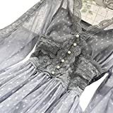 Women Hollow Out Puff Sleeve Floral Embroidery Lace