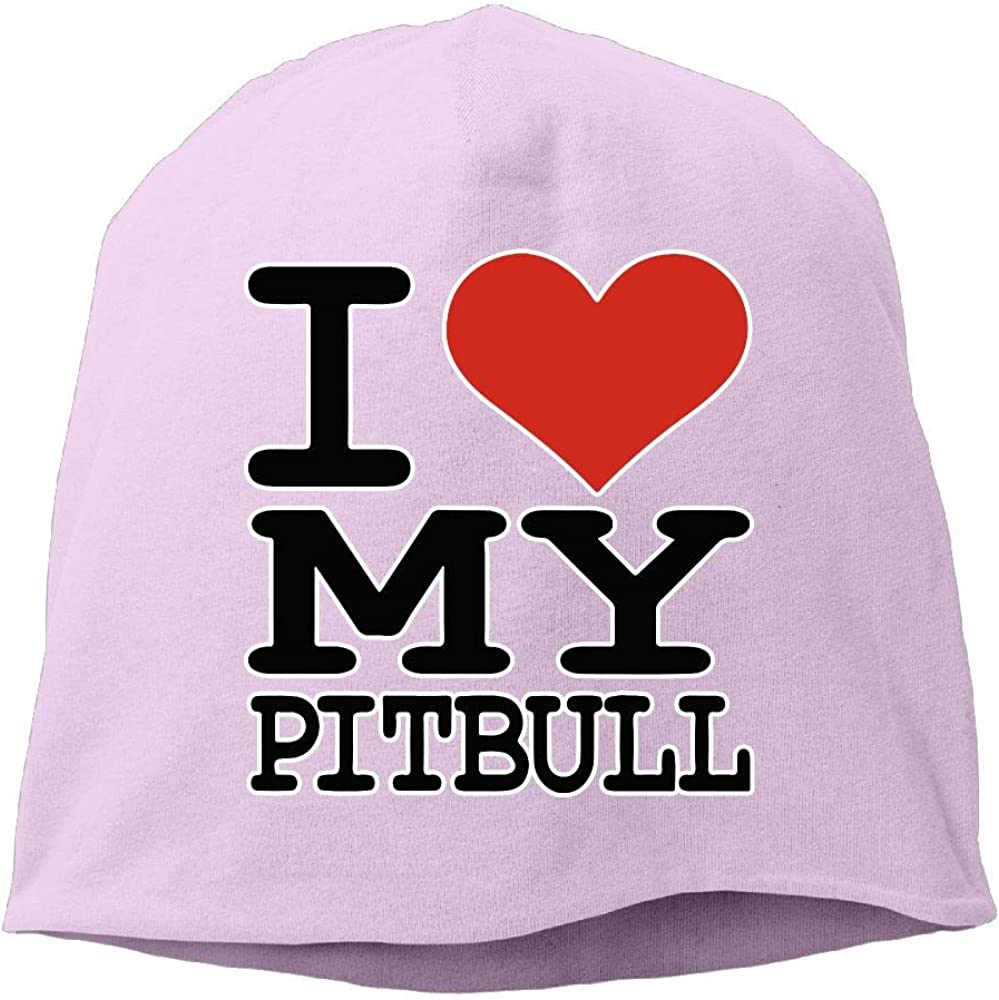 I Love My Pitbull Men /& Women Winter Helmet Liner Fleece Skull Cap Beanie Hat for Running Black