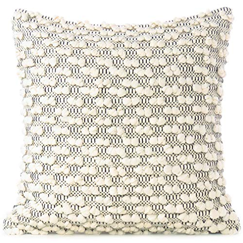 "Eyes of India - 20"" Black White Cream Woven Tufted Tassel Cushion Pillow Cover Fringe Sofa Couch Throw Bohemian Indian Cover ONLY"