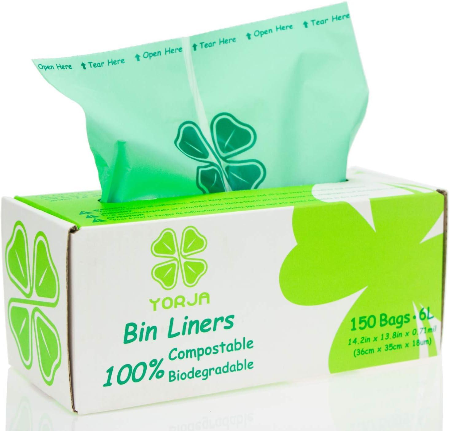 YORJA 100% compostable Biodegradable 6L Bolsa Basura Alimentos Cocina Bolsas de basura-150 Bolsas