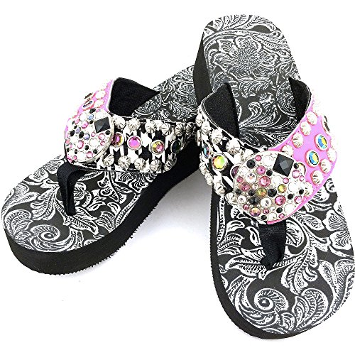 Western Peak Women's Rhinestone Round Mixed Rhinestone Concho and Studs Multicolor Pink and Green and Black PU Sandal Flip Flop (10)