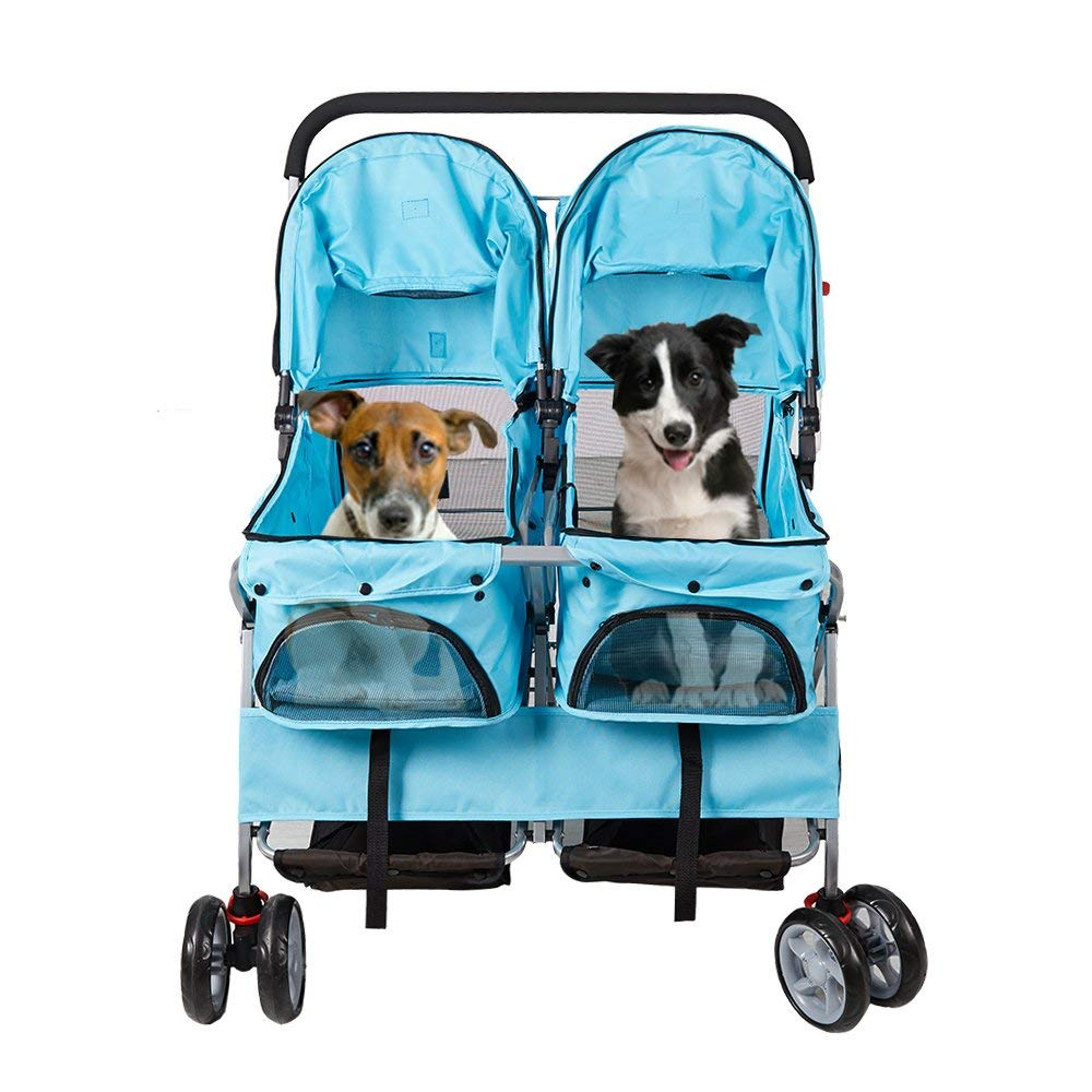 Livebest Folding Pet Stroller Elite Jogger Kitten Puppy Easy Walk Dog Cat Small Animals Travel Carrier with 360 Rotating Front Wheel