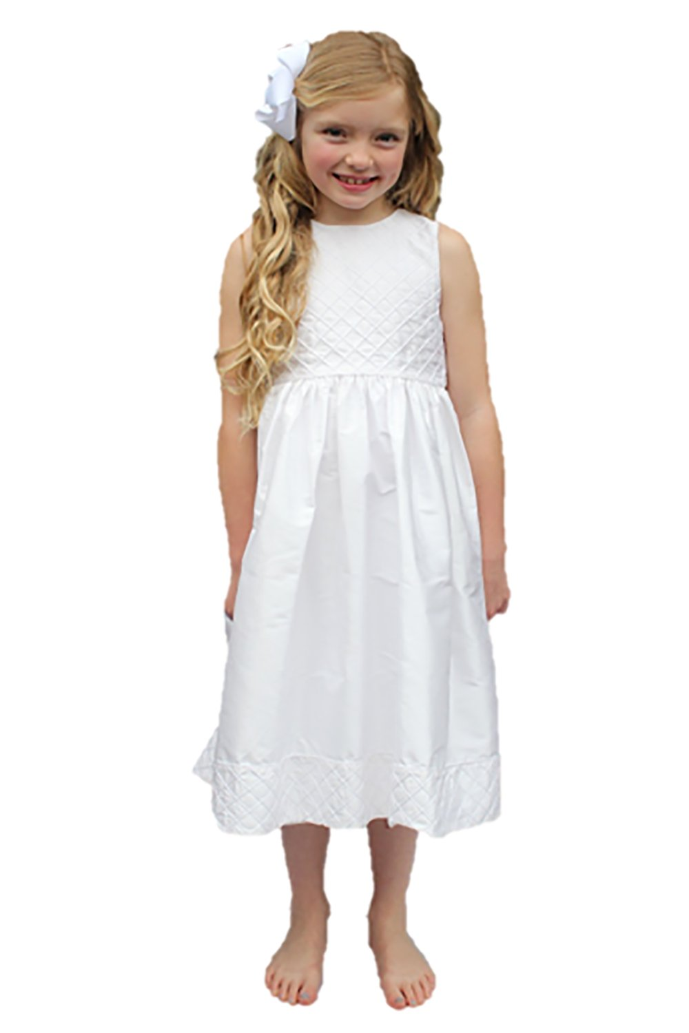 Communion Dress Strasburg Children Girls Baptism Silk Flower girl Dress (7, White)