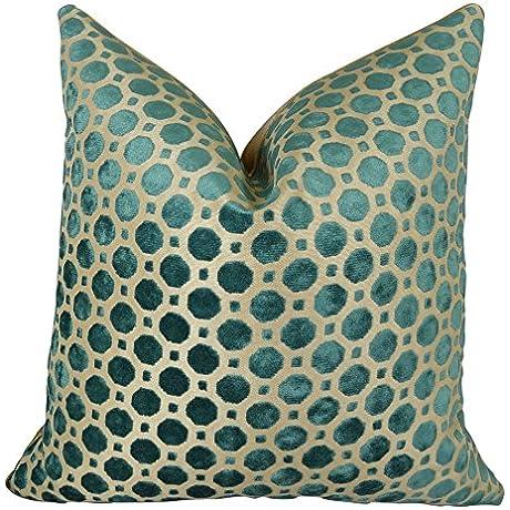 Plutus Brands Velvet Throw Pillow 26 X 26 Turquoise Taupe