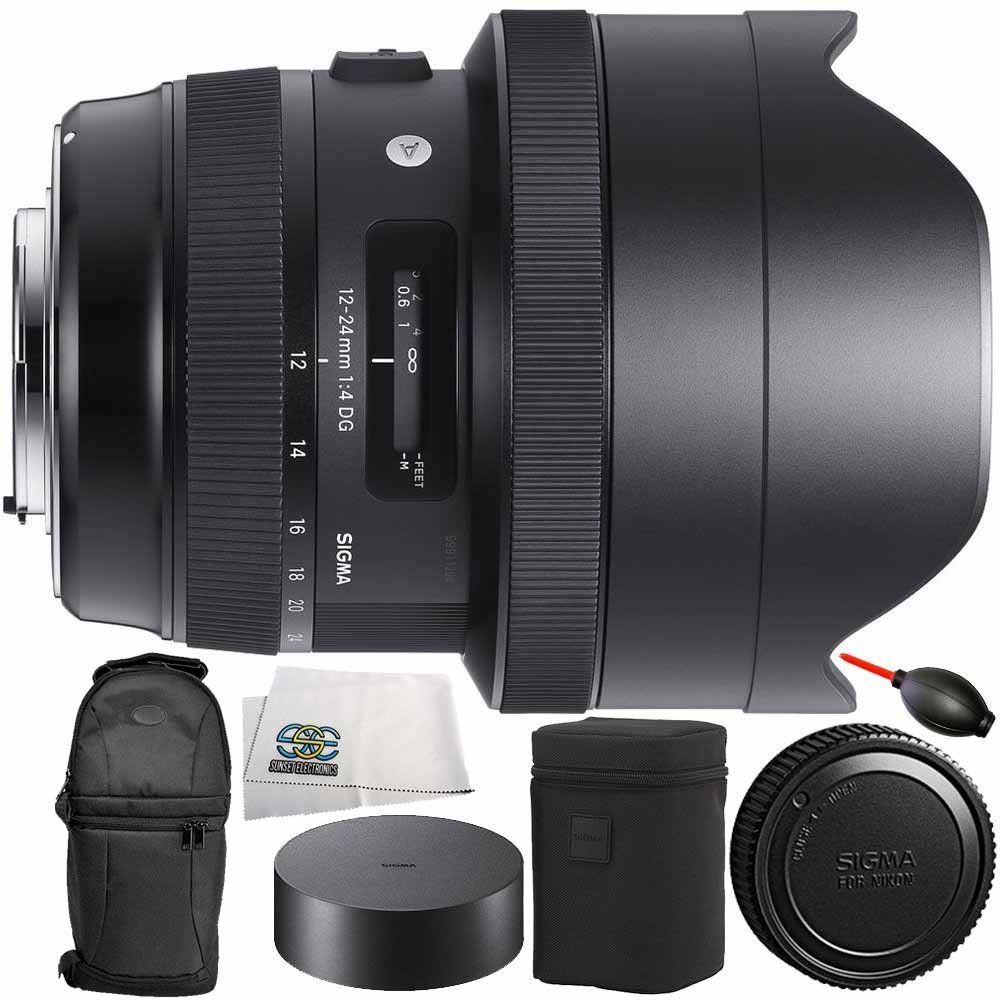 Sigma 12-24mm f/4 DG HSM Art Lens for Canon EF 8PC Bundle - Includes Dust Blower + Carrying Case + Microfiber Cleaning Cloth + Manufacturer Accessories